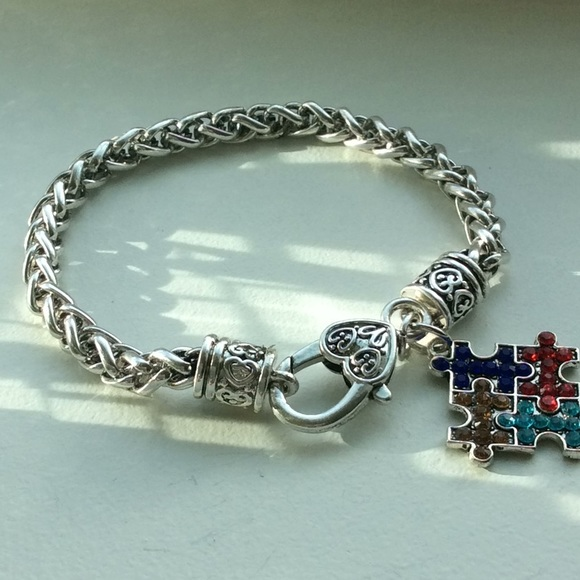 awareness charm com autism bracelet dp amazon hope autistic puzzle jewelry adjustable